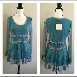 A'Reve New Turquoise Lace Top